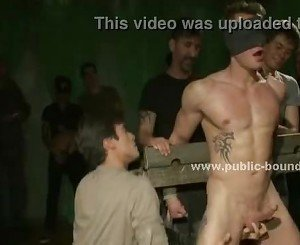Gay boy forced to bend over and analized in public group sex video scene