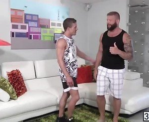 Straight tattooed guys Alexander Gustavo and Colby Jansen shared sloppy blowjob