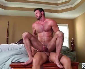Big fat dudes Billy Santoro bounces his fat ass into Colby Jansen hard big cock