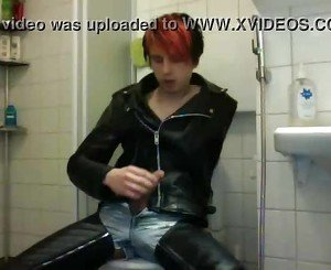 Boy - leather jerk-off