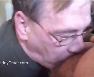 Dentured old man sucking my cock and swallows