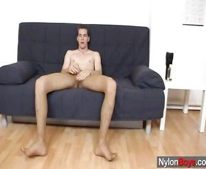 Meagre Nylon Young Man Carl Using A Male Screwing Toy