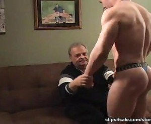 Muscle Boy Gets Spanked By Old Man