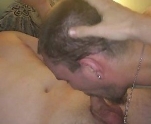 Watching my boy service a thick uncut cock