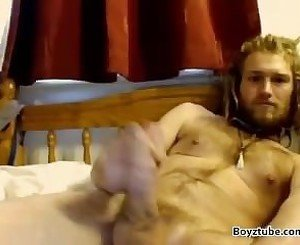 Straight HORNY Hairy White Blond Rasta Jerk-Off Cam - Bearded Hippie Dreads