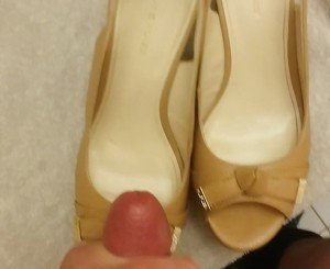 Cum on Her Shoes - Tan Peep Toe Wedges