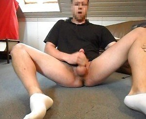 Shy boy in white socks cums for the camera